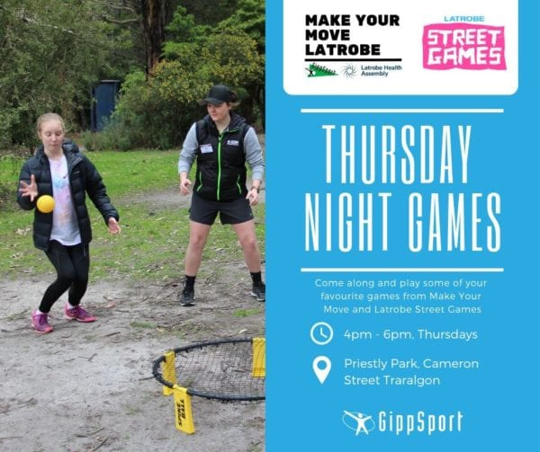 """Traralgon East """"Thursday Night Games"""" by Make Your Move & Latrobe Streetgames @ Priestly Park"""